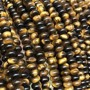 Shop Tiger Eye Rondelle Beads! 8x5mm Natural Tiger Eye Rondelle Beads,Gemstone Beads , Yellow Tiger Eye Beads , Wholesale Beads | Natural genuine rondelle Tiger Eye beads for beading and jewelry making.  #jewelry #beads #beadedjewelry #diyjewelry #jewelrymaking #beadstore #beading #affiliate #ad