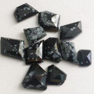 Shop Snowflake Obsidian Stones & Crystals! 9-16mm Snowflake Obsidian Cabochons, Fancy Shape Snowflake Obsidian Flat Back Cabochons, 5 Pcs Loose Snowflake Obsidian Gemstone For Jewelry | Natural genuine stones & crystals in various shapes & sizes. Buy raw cut, tumbled, or polished gemstones for making jewelry or crystal healing energy vibration raising reiki stones. #crystals #gemstones #crystalhealing #crystalsandgemstones #energyhealing #affiliate #ad
