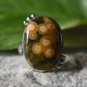 Shop Ocean Jasper Rings! 925 silver ocean jasper ring-natural jasper ring-natural jasper ring-jasper ring-natural ocean jasper ring-ocean jasper ring-jasper ring | Natural genuine Ocean Jasper rings, simple unique handcrafted gemstone rings. #rings #jewelry #shopping #gift #handmade #fashion #style #affiliate #ad