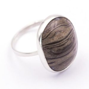 Shop Petrified Wood Rings! 925 Silver Ring With Fossilized Wood – Measurements Gem 21.6 X 18.1 Mm. – Weight: 5.22 Grams. | Natural genuine Petrified Wood rings, simple unique handcrafted gemstone rings. #rings #jewelry #shopping #gift #handmade #fashion #style #affiliate #ad