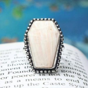 Shop Scolecite Rings! 925 Sterling Silver Ring, Natural Pink Scolecite Quality Coffin Gemstone Ring, Coffin Ring, Statement Ring, Boho Ring, Gift For Her/Women   Natural genuine Scolecite rings, simple unique handcrafted gemstone rings. #rings #jewelry #shopping #gift #handmade #fashion #style #affiliate #ad