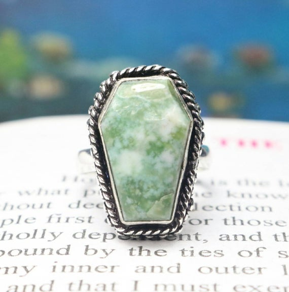 925 Sterling Silver Ring, Natural Serpentine Quality Cut Coffin Gemstone Ring, Coffin Ring, Gift For Her/women