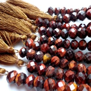 """Shop Tiger Eye Rondelle Beads! AAA Natural Red Tiger Eye Gemstone Beads Tassel, 9x6mm Faceted Rondelle Shape Beads, Red Brown Beads, Great Quality Bead! Half Length 7.5"""" 