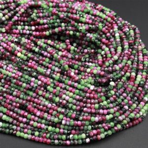 "Aaa Natural Ruby Zoisite 3mm Faceted Rondelle Beads Micro Laser Diamond Cut Gemstone 16"" Strand 