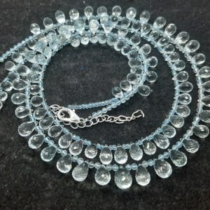 Shop Topaz Bead Shapes! AAA Natural Sky Blue Topaz Faceted Tear drop 6×10 MM bead , 3 MM Sky Blue Topaz Rondelle Beads, 17.5 Inch +Fish Lock Topaz Designer Necklace | Natural genuine other-shape Topaz beads for beading and jewelry making.  #jewelry #beads #beadedjewelry #diyjewelry #jewelrymaking #beadstore #beading #affiliate #ad