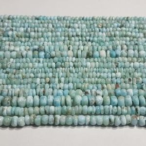 """Shop Larimar Rondelle Beads! AAA+++1 Strand Natural Larimar Plain Rondelle Beads/Larimar Plain Smooth Rondelle Beads/4.00mm to 6.25mm/13.50"""" Length. 