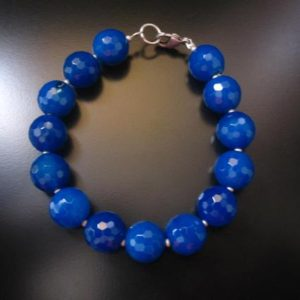 Shop Agate Bracelets! Cobalt Agate Bracelet, Faceted Cobalt Agate, Agate Bracelet, Cobalt Blue Bracelet, Cobalt Agate Jewelry, Cobalt Blue Jewelry, Agate Jewelry | Natural genuine Agate bracelets. Buy crystal jewelry, handmade handcrafted artisan jewelry for women.  Unique handmade gift ideas. #jewelry #beadedbracelets #beadedjewelry #gift #shopping #handmadejewelry #fashion #style #product #bracelets #affiliate #ad