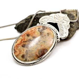 Shop Agate Pendants! Crazy lace agate necklace sterling silver large round lace agate pendant orange brown beige antique bohemian style, artisan boho jewelry | Natural genuine Agate pendants. Buy crystal jewelry, handmade handcrafted artisan jewelry for women.  Unique handmade gift ideas. #jewelry #beadedpendants #beadedjewelry #gift #shopping #handmadejewelry #fashion #style #product #pendants #affiliate #ad