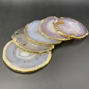 Shop Agate Stones & Crystals! Gold Agate Coasters Large Agate Slices Natural Gray Agate Coasters Set Agate Geode Slice Stone Crystal Coaster Wholesale | Natural genuine stones & crystals in various shapes & sizes. Buy raw cut, tumbled, or polished gemstones for making jewelry or crystal healing energy vibration raising reiki stones. #crystals #gemstones #crystalhealing #crystalsandgemstones #energyhealing #affiliate #ad