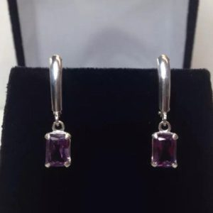 GORGEOUS 2ctw Color Change Alexandrite Sterling Emerald Cut Dangle Earrings Trillion Cut Gemstone Jewelry Trending Stones June Gift | Natural genuine Gemstone earrings. Buy crystal jewelry, handmade handcrafted artisan jewelry for women.  Unique handmade gift ideas. #jewelry #beadedearrings #beadedjewelry #gift #shopping #handmadejewelry #fashion #style #product #earrings #affiliate #ad