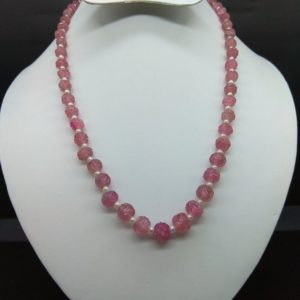 Shop Pink Tourmaline Necklaces! AMAZING NATURAL Pink Tourmaline Carved Round Beads With Pure White Pearl Necklace 197.60Cts (1LINE) | Natural genuine Pink Tourmaline necklaces. Buy crystal jewelry, handmade handcrafted artisan jewelry for women.  Unique handmade gift ideas. #jewelry #beadednecklaces #beadedjewelry #gift #shopping #handmadejewelry #fashion #style #product #necklaces #affiliate #ad
