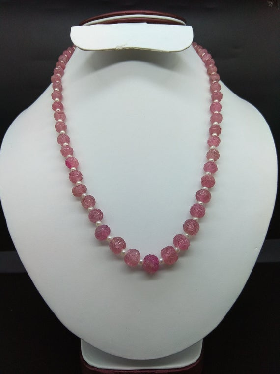 Amazing Natural Pink Tourmaline Carved Round Beads With Pure White Pearl Necklace 197.60cts (1line)