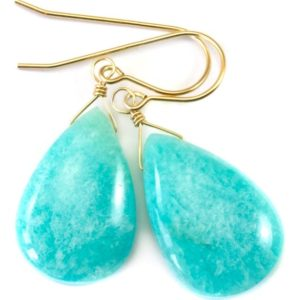 Shop Amazonite Earrings! Amazonite Earrings Blue Aqua Smooth Finish Teardrop Briolette Sterling Silver or 14k Solid Gold or Filled Pale Soft Baby Blue Natural Drops | Natural genuine Amazonite earrings. Buy crystal jewelry, handmade handcrafted artisan jewelry for women.  Unique handmade gift ideas. #jewelry #beadedearrings #beadedjewelry #gift #shopping #handmadejewelry #fashion #style #product #earrings #affiliate #ad