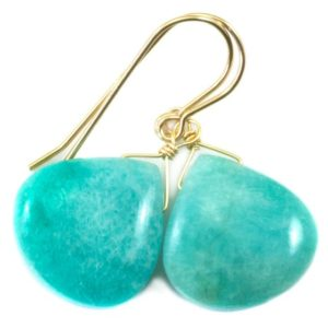 Shop Amazonite Earrings! Amazonite Earrings Blue Aqua Smooth Finish Teardrop Heart Sterling Silver or 14k Solid Gold or Filled Pale Soft Baby Blue Natural Drops | Natural genuine Amazonite earrings. Buy crystal jewelry, handmade handcrafted artisan jewelry for women.  Unique handmade gift ideas. #jewelry #beadedearrings #beadedjewelry #gift #shopping #handmadejewelry #fashion #style #product #earrings #affiliate #ad