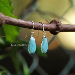 Shop Amazonite Earrings! Amazonite Coffin Earring, Coffin Earring, Sterling Silver Earring, Gemstone Earring, 10x17mm Amazonite Earring, Women Earring, Boho Earring | Natural genuine Amazonite earrings. Buy crystal jewelry, handmade handcrafted artisan jewelry for women.  Unique handmade gift ideas. #jewelry #beadedearrings #beadedjewelry #gift #shopping #handmadejewelry #fashion #style #product #earrings #affiliate #ad