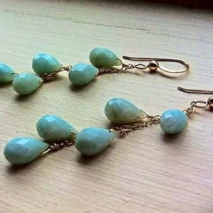 Long Baby Blue Amazonite sterling silver cascade Earrings, opaque gemstone, wire wrapped, gift for woman | Natural genuine Gemstone earrings. Buy crystal jewelry, handmade handcrafted artisan jewelry for women.  Unique handmade gift ideas. #jewelry #beadedearrings #beadedjewelry #gift #shopping #handmadejewelry #fashion #style #product #earrings #affiliate #ad