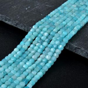 Shop Amazonite Faceted Beads! 4MM  Amazonite Gemstone Grade AAA Micro Faceted Square Cube Loose Beads (P4) | Natural genuine faceted Amazonite beads for beading and jewelry making.  #jewelry #beads #beadedjewelry #diyjewelry #jewelrymaking #beadstore #beading #affiliate #ad