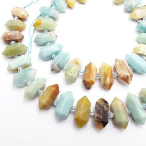"Multi-Color Amazonite Center Drill Faceted Points Beads 20-30mm 15.5"" Strand 