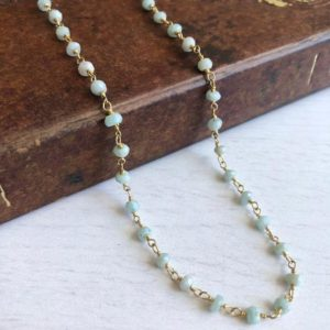 Shop Amazonite Necklaces! Amazonite Necklace, Amazonite Beaded Short Necklace, Teal Green Necklace, Gold Delicate Necklace, Summer Necklace, Minimalist Gift for her | Natural genuine Amazonite necklaces. Buy crystal jewelry, handmade handcrafted artisan jewelry for women.  Unique handmade gift ideas. #jewelry #beadednecklaces #beadedjewelry #gift #shopping #handmadejewelry #fashion #style #product #necklaces #affiliate #ad