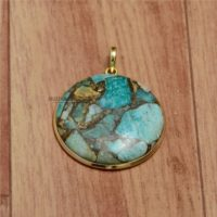 Round Pendant, Amazonite Copper Gemstone Pendant, 18k Gold Plated Pendant, Round Amazonite Pendant, Silver Pendant, Handmade Locket For Girl | Natural genuine Gemstone jewelry. Buy crystal jewelry, handmade handcrafted artisan jewelry for women.  Unique handmade gift ideas. #jewelry #beadedjewelry #beadedjewelry #gift #shopping #handmadejewelry #fashion #style #product #jewelry #affiliate #ad