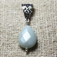 Semi Precious Stone Pendant – Amazonite Faceted Drop 17x13mm | Natural genuine Gemstone jewelry. Buy crystal jewelry, handmade handcrafted artisan jewelry for women.  Unique handmade gift ideas. #jewelry #beadedjewelry #beadedjewelry #gift #shopping #handmadejewelry #fashion #style #product #jewelry #affiliate #ad