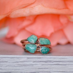 Shop Amazonite Rings! Amazonite Ring, Electroformed Jewelry, Copper Gemstone Ring, Unique Gift for Her, Bohemian Ring, Russian Amazonite Jewelry, Stacking Ring | Natural genuine Amazonite rings, simple unique handcrafted gemstone rings. #rings #jewelry #shopping #gift #handmade #fashion #style #affiliate #ad