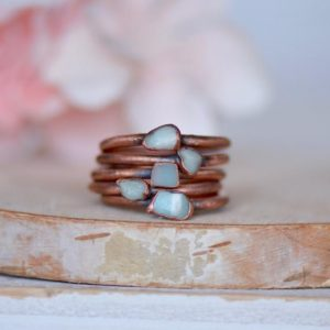 Amazonite Ring, Raw Stone Ring, Electroformed Jewelry, Stacking Ring, Gemstone Jewelry, Birthstone Ring, Gift For Her, Bohemian Ring for Her | Natural genuine Gemstone rings, simple unique handcrafted gemstone rings. #rings #jewelry #shopping #gift #handmade #fashion #style #affiliate #ad