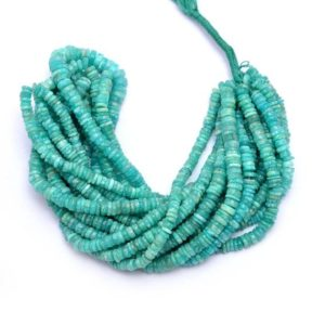 Shop Amazonite Rondelle Beads! AAA+ Amazonite Gemstone 5mm-7mm Smooth Heishi Beads | 16inch Strand | Natural Amazonite Gemstone Tyre / Coin Rondelle Spacer Loose Beads | Natural genuine rondelle Amazonite beads for beading and jewelry making.  #jewelry #beads #beadedjewelry #diyjewelry #jewelrymaking #beadstore #beading #affiliate #ad