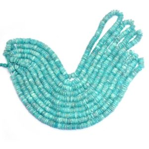 """Shop Amazonite Rondelle Beads! AAA+ Amazonite Gemstone Heishi 6mm-7mm Disc Smooth Beads 