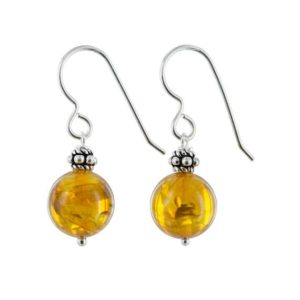 Shop Amber Earrings! Yellow Amber Gem Earrings, Silver Jewelry,  Dainty Ball Earrings, Bali Beads, Birthday Gifts for Her | Natural genuine Amber earrings. Buy crystal jewelry, handmade handcrafted artisan jewelry for women.  Unique handmade gift ideas. #jewelry #beadedearrings #beadedjewelry #gift #shopping #handmadejewelry #fashion #style #product #earrings #affiliate #ad
