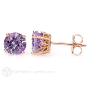 Shop Amethyst Earrings! Amethyst Earrings 14K Rose Gold Amethyst Stud Earrings February Birthstone Earrings Purple Stone Posts | Natural genuine Amethyst earrings. Buy crystal jewelry, handmade handcrafted artisan jewelry for women.  Unique handmade gift ideas. #jewelry #beadedearrings #beadedjewelry #gift #shopping #handmadejewelry #fashion #style #product #earrings #affiliate #ad