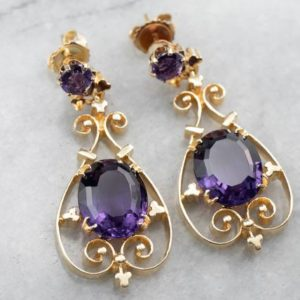 Shop Amethyst Earrings! Victorian Revival Amethyst Earrings, Amethyst Gold Drop Earrings, Filigree Earrings, Vintage Earrings, February Birthstone, 7FP42KQ2 | Natural genuine Amethyst earrings. Buy crystal jewelry, handmade handcrafted artisan jewelry for women.  Unique handmade gift ideas. #jewelry #beadedearrings #beadedjewelry #gift #shopping #handmadejewelry #fashion #style #product #earrings #affiliate #ad