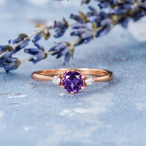 Shop Unique Amethyst Engagement Rings! Amethyst Engagement Ring Rose Gold Amethyst Ring 5mm Solitaire Ring For Women Three Stones Ring Natural Diamond Wedding Ring Custom Simple | Natural genuine Amethyst rings, simple unique alternative gemstone engagement rings. #rings #jewelry #bridal #wedding #jewelryaccessories #engagementrings #weddingideas #affiliate #ad