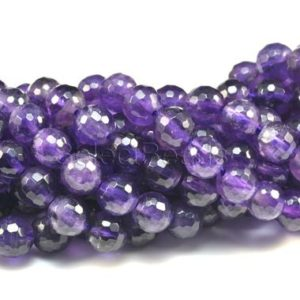 middle deep purple amethyst – natural amethyst gemstone – gemstone beads for jewelry making – faceted round beads -size 4-10mm -15inch | Natural genuine beads Amethyst beads for beading and jewelry making.  #jewelry #beads #beadedjewelry #diyjewelry #jewelrymaking #beadstore #beading #affiliate #ad