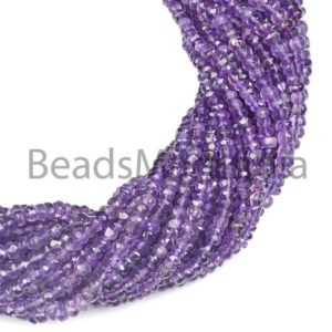 Shop Amethyst Faceted Beads! Purple Amethyst Rondelle Shape Beads, Amethyst Faceted Beads, Amethyst Beads, Amethyst 4-5MM | Natural genuine faceted Amethyst beads for beading and jewelry making.  #jewelry #beads #beadedjewelry #diyjewelry #jewelrymaking #beadstore #beading #affiliate #ad