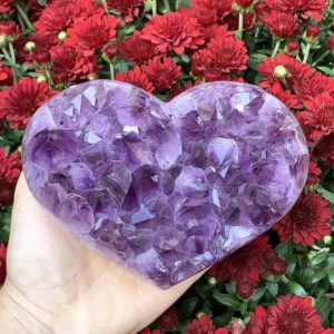 Shop Raw & Rough Amethyst Stones! Amethyst Geode Heart Specimen – Crystal Heart – Druzy Heart – Healing Crystals – Healing Stones – Home Decor – Crystal Decor – Sacred Space | Natural genuine stones & crystals in various shapes & sizes. Buy raw cut, tumbled, or polished gemstones for making jewelry or crystal healing energy vibration raising reiki stones. #crystals #gemstones #crystalhealing #crystalsandgemstones #energyhealing #affiliate #ad