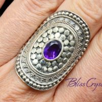 Amethyst Faceted Ring Size 7.5 Round Shield Healing Crystal And Stone #lr29 #shrm | Natural genuine Gemstone jewelry. Buy crystal jewelry, handmade handcrafted artisan jewelry for women.  Unique handmade gift ideas. #jewelry #beadedjewelry #beadedjewelry #gift #shopping #handmadejewelry #fashion #style #product #jewelry #affiliate #ad