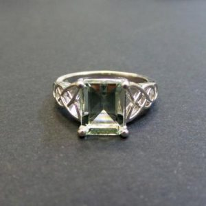 Amethyst Ring/  Genuine Green Amethyst Emerald Cut 1.55 ct Engagement Ring Sterling Silver/ Emerald Cut Green Amethyst Engagement Ring | Natural genuine Gemstone rings, simple unique alternative gemstone engagement rings. #rings #jewelry #bridal #wedding #jewelryaccessories #engagementrings #weddingideas #affiliate #ad