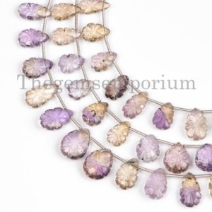 New Arrivals Ametrine Pear Carving Flower Beads, Ametrine Carved Beads, Flower Carving Beads, Ametrine Pear Beads, Gemstone Carving Beads | Natural genuine other-shape Gemstone beads for beading and jewelry making.  #jewelry #beads #beadedjewelry #diyjewelry #jewelrymaking #beadstore #beading #affiliate #ad