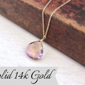 Ametrine Solid 14k Gold Teardrop Necklace, Ametrine Teardrop Pendant, Real Solid 14k Purple Ametrine Pendant, Gift for mother, February gift | Natural genuine Ametrine pendants. Buy crystal jewelry, handmade handcrafted artisan jewelry for women.  Unique handmade gift ideas. #jewelry #beadedpendants #beadedjewelry #gift #shopping #handmadejewelry #fashion #style #product #pendants #affiliate #ad