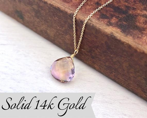 Ametrine Solid 14k Gold Teardrop Necklace, Ametrine Teardrop Pendant, Real Solid 14k Purple Ametrine Pendant, Gift For Mother, February Gift