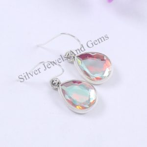 Shop Angel Aura Quartz Earrings! Natural Angel Aura Quartz Earrings, Handmade Silver Earrings, 925 Sterling Silver, Teardrop Aura Quartz Earrings, Dangle Drop Earrings | Natural genuine Angel Aura Quartz earrings. Buy crystal jewelry, handmade handcrafted artisan jewelry for women.  Unique handmade gift ideas. #jewelry #beadedearrings #beadedjewelry #gift #shopping #handmadejewelry #fashion #style #product #earrings #affiliate #ad