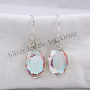 Shop Angel Aura Quartz Earrings! Natural Angel Aura Quartz Earrings, Handmade Silver Earrings, 925 Sterling Silver, Oval Aura Quartz Earrings, Dangle Drop Earrings | Natural genuine Angel Aura Quartz earrings. Buy crystal jewelry, handmade handcrafted artisan jewelry for women.  Unique handmade gift ideas. #jewelry #beadedearrings #beadedjewelry #gift #shopping #handmadejewelry #fashion #style #product #earrings #affiliate #ad