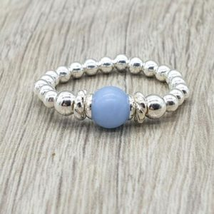 Shop Angelite Rings! Angelite and Sterling Silver Beaded Stretchy Ring, Stacking Ring with 6mm blue angelite bead, Gift for her, valentine gift for her | Natural genuine Angelite rings, simple unique handcrafted gemstone rings. #rings #jewelry #shopping #gift #handmade #fashion #style #affiliate #ad