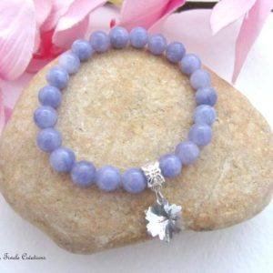 Shop Angelite Jewelry! Angelite bracelet, stone snowflake, healing communication, woman, french handmade | Natural genuine Angelite jewelry. Buy crystal jewelry, handmade handcrafted artisan jewelry for women.  Unique handmade gift ideas. #jewelry #beadedjewelry #beadedjewelry #gift #shopping #handmadejewelry #fashion #style #product #jewelry #affiliate #ad