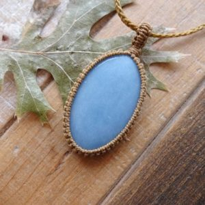 Shop Angelite Necklaces! Blue Angelite Necklace / Throat Chakra Angel stone amulet | Natural genuine Angelite necklaces. Buy crystal jewelry, handmade handcrafted artisan jewelry for women.  Unique handmade gift ideas. #jewelry #beadednecklaces #beadedjewelry #gift #shopping #handmadejewelry #fashion #style #product #necklaces #affiliate #ad
