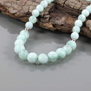Shop Angelite Necklaces! Green Angelite Gemstone Necklace Natural Green Angelite Handmade Beads Jewelry Green Angelite Round Stone Rose Gold Plated Gift Necklace | Natural genuine Angelite necklaces. Buy crystal jewelry, handmade handcrafted artisan jewelry for women.  Unique handmade gift ideas. #jewelry #beadednecklaces #beadedjewelry #gift #shopping #handmadejewelry #fashion #style #product #necklaces #affiliate #ad