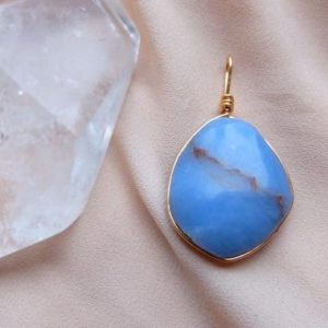Shop Angelite Pendants! Angelite Pendant ~ Angelite In 14 K Gold fill ~ | Natural genuine Angelite pendants. Buy crystal jewelry, handmade handcrafted artisan jewelry for women.  Unique handmade gift ideas. #jewelry #beadedpendants #beadedjewelry #gift #shopping #handmadejewelry #fashion #style #product #pendants #affiliate #ad