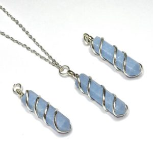Shop Angelite Pendants! Angelite Pendant Wire Wrapped with Chain | Natural genuine Angelite pendants. Buy crystal jewelry, handmade handcrafted artisan jewelry for women.  Unique handmade gift ideas. #jewelry #beadedpendants #beadedjewelry #gift #shopping #handmadejewelry #fashion #style #product #pendants #affiliate #ad