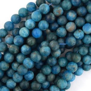 """Shop Apatite Round Beads! Natural matte Blue Apatite Round Beads 15.5"""" Strand 4mm 6mm 8mm 10mm 12mm   Natural genuine round Apatite beads for beading and jewelry making.  #jewelry #beads #beadedjewelry #diyjewelry #jewelrymaking #beadstore #beading #affiliate #ad"""